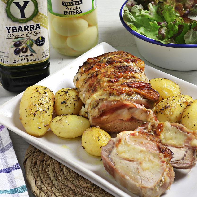recetas ybarra lomo hasselback con aceite virgen extra y patatas