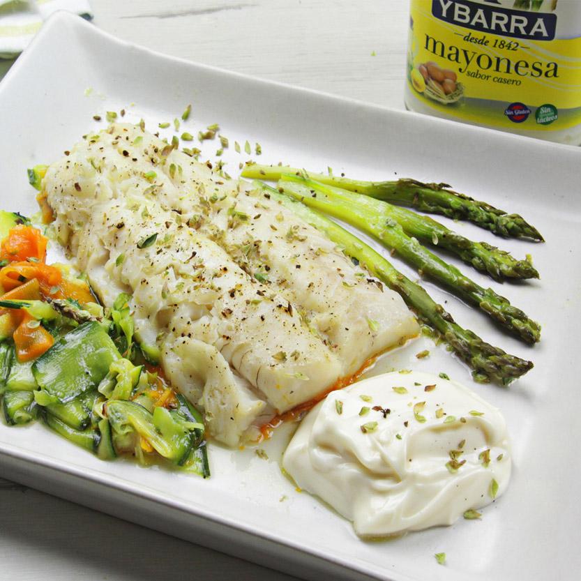 recetas ybarra merluza papillote con mayonesa