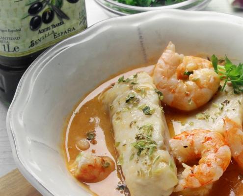 recetas ybarra merluza en salsa de langostinos