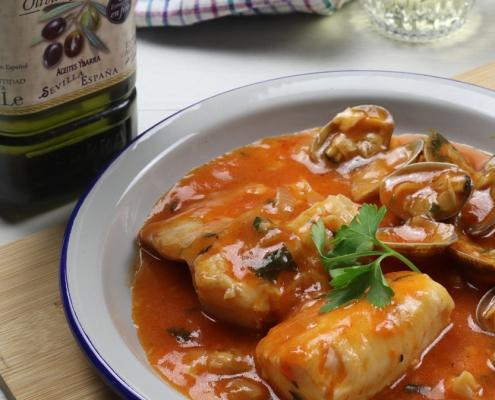 recetas ybarra merluza en salsa de piquillos y aceite virgen extra