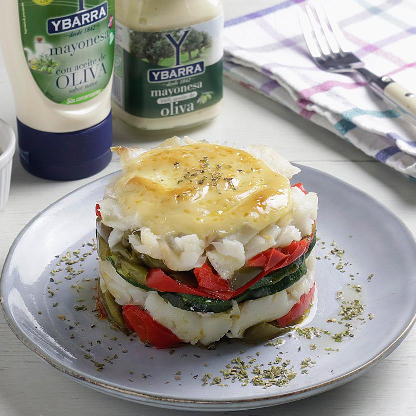 receta ybarra de milhojas con bacalao y mayonesa en aceite de oliva