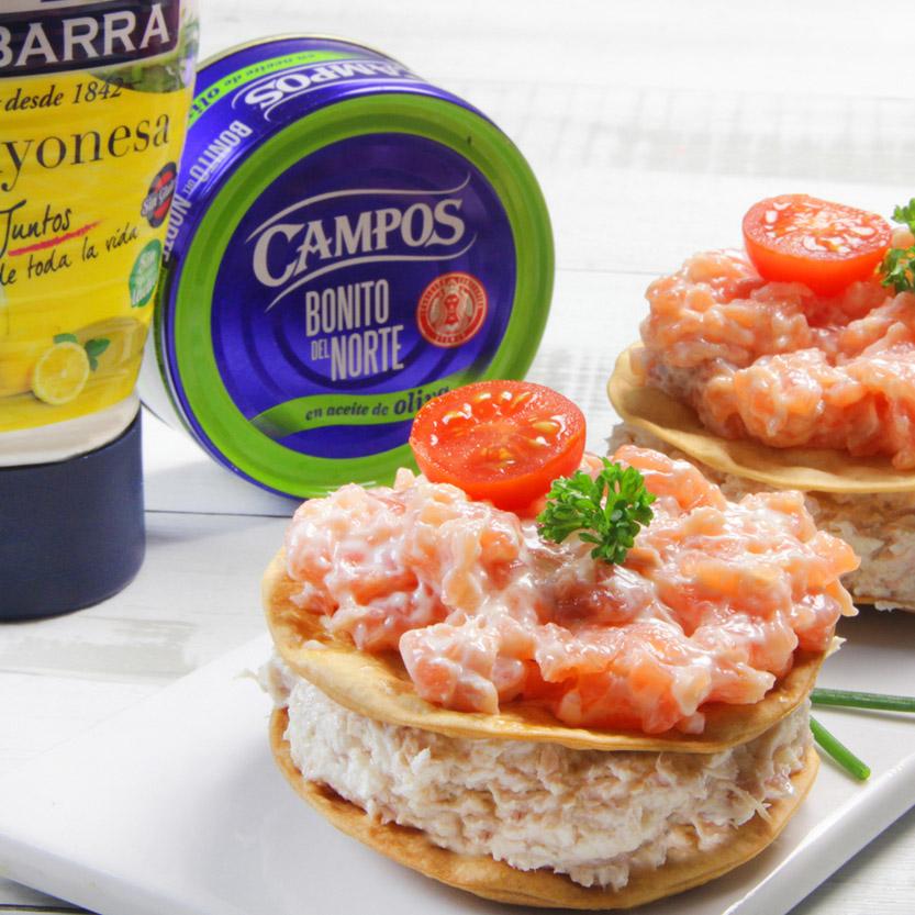 recetas ybarra milhojas de bonito y salmon con mayonesa