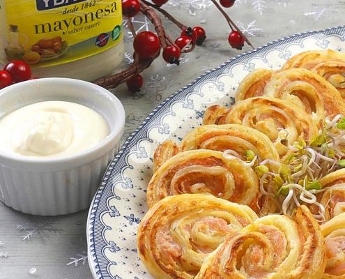 recetas ybarra espirales de salmon, queso y mayonesa para navidad