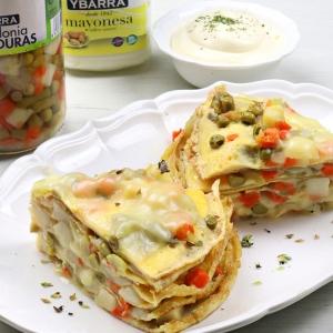 recetas ybarra pastel de tortilla con macedonia de verduras y mayonesa