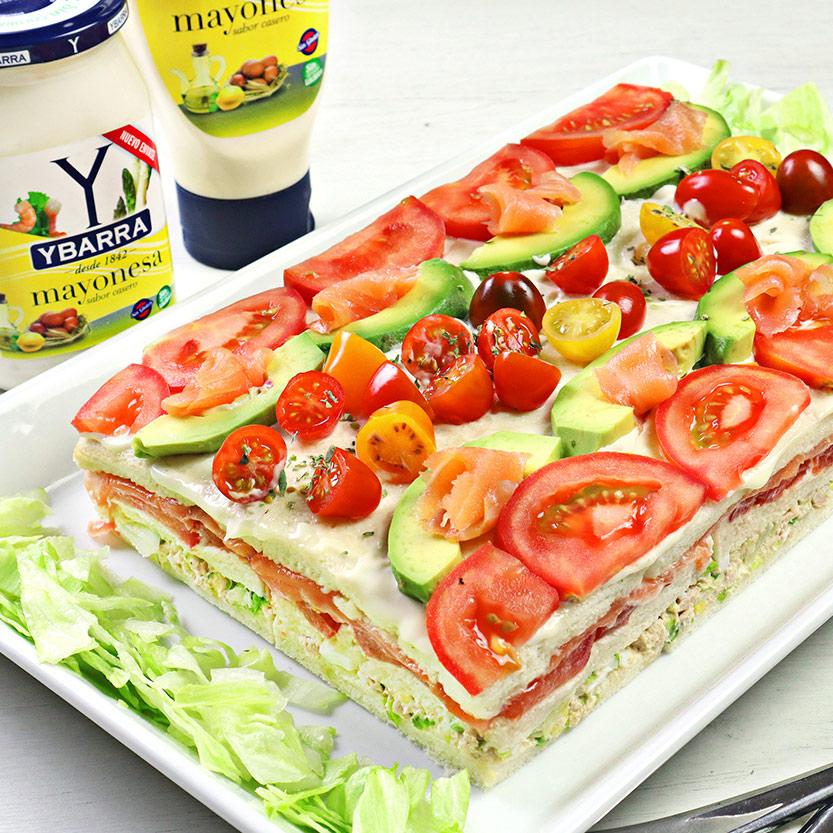 recetas ybarra pastel de verano con salmon, tomate y mayonesa