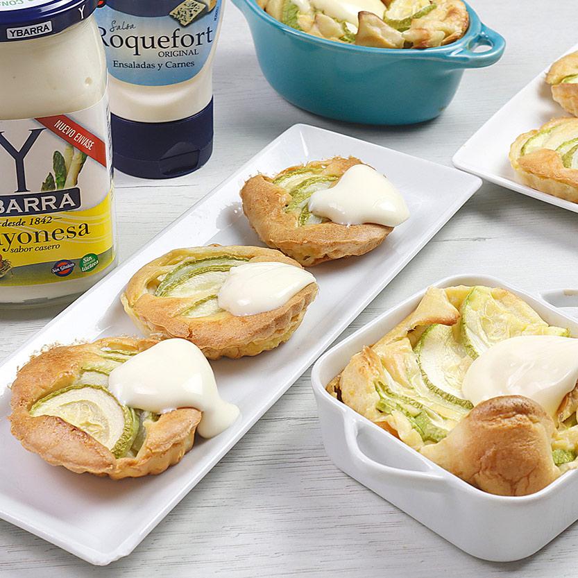 recetas ybarra pastelitos de calabacin con mayonesa y salsa roquefort