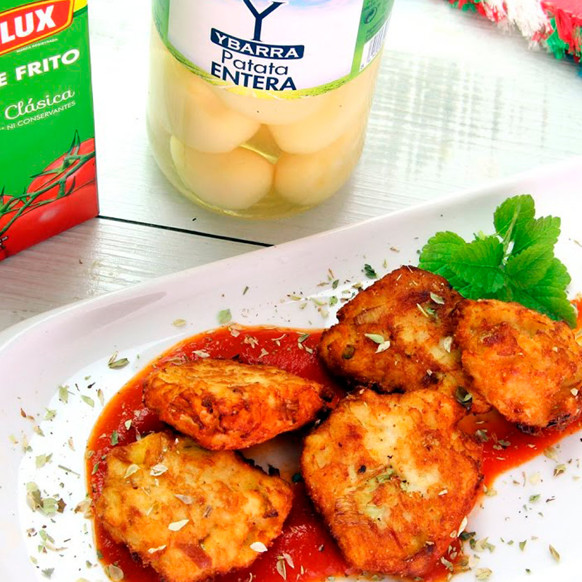 recetas ybarra pastelitos salados con patatas y tomate frito