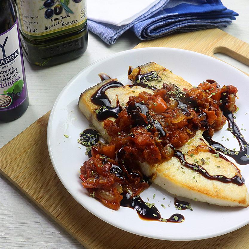 recetas ybarra pez espada con sofrito y crema de vinagre de modena