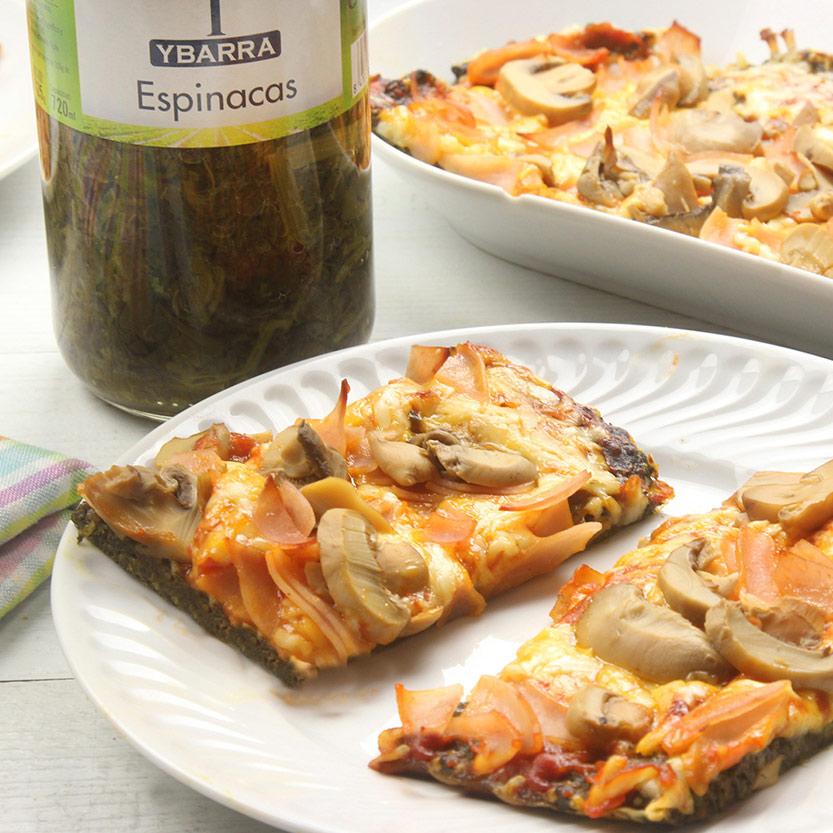 recetas ybarra pizza con base de espinacas