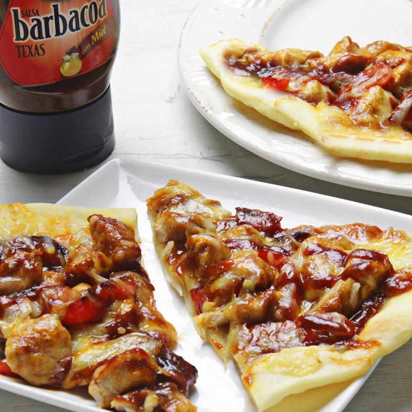 recetas ybarra pizza de pollo con salsa barbacoa
