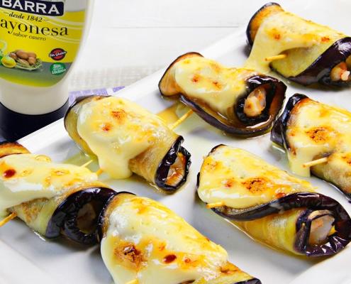 recetas ybarra rollitos de berenjena y langostinos con mayonesa
