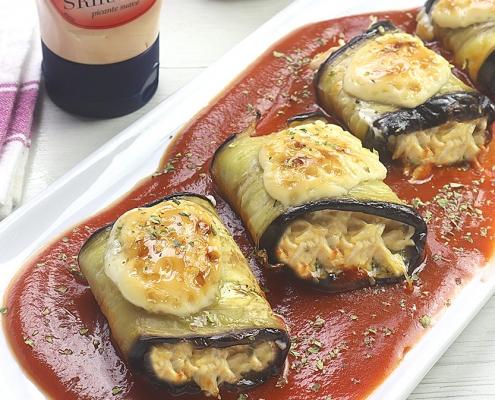 recetas ybarra rollitos de berejena con pollo y mayonesa sriracha