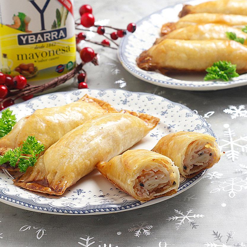 recetas ybarra rollitos de hojaldre con pavo trufado y mayonesa