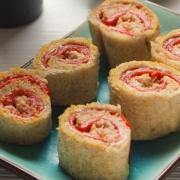 recetas ybarra rollitos de pan de molde, pimientos, atun y mayonesa