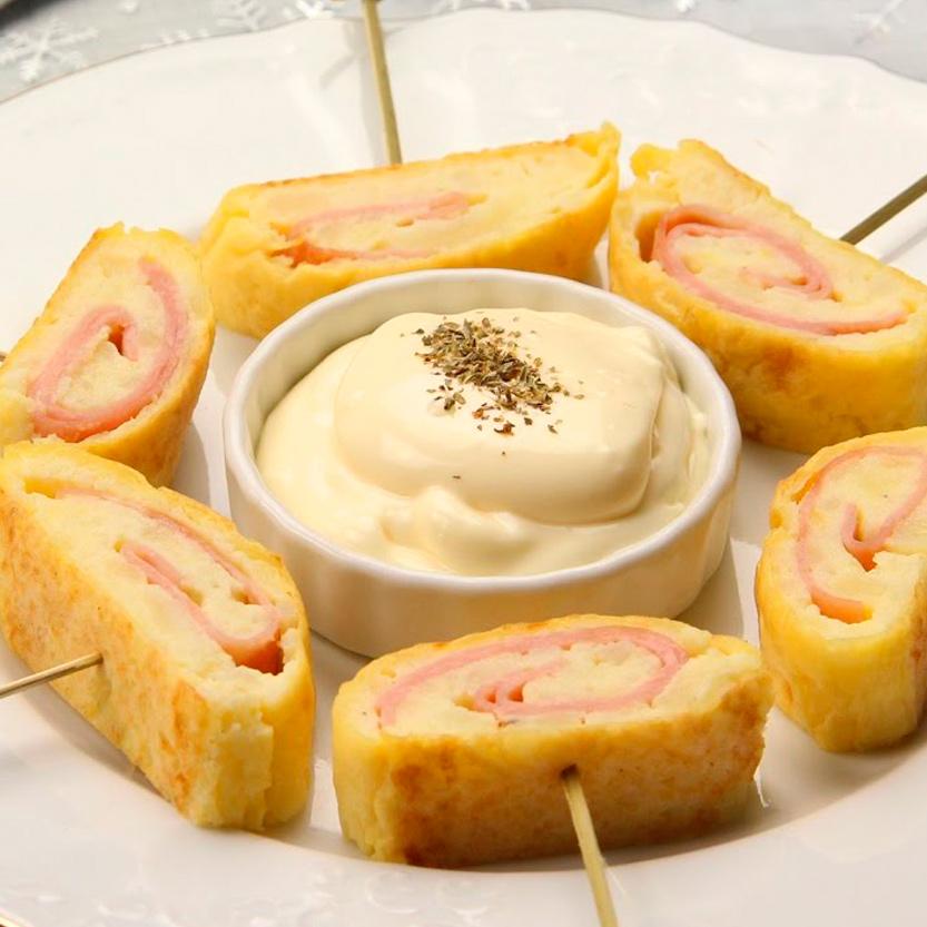 recetas ybarra rollitos de patatas con jamon, queso y mayonesa
