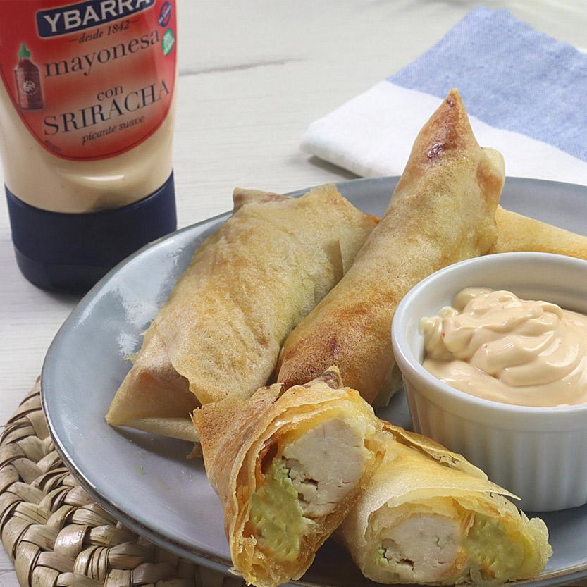 recetas ybarra rollitos con pollo, aguacate y mayonesa sriracha