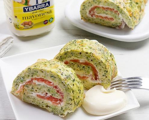 recetas ybarra rollo de tortilla con brocoli, salmon y mayonesa