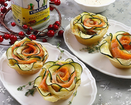 recetas ybarra rosas de salmon y calabacin con mayonesa