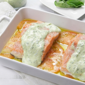 recetas ybarra de salmon asado y albahaca