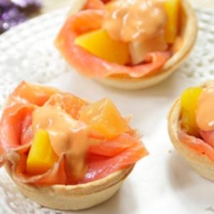 recetas ybarra tartaleta de salmon con fruta tropical y mango