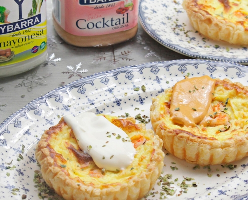 recetas ybarra tartaletas de merluza y hojaldre con mayonesa y salsa cocktail