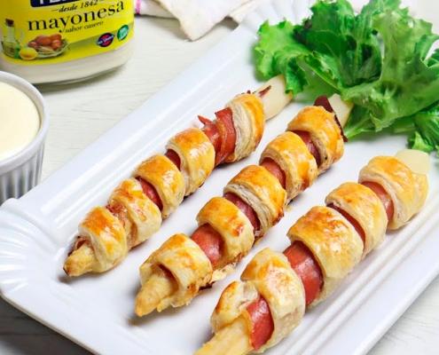receta ybarra de tirabuzones de hojaldre, esparragos y mayonesa