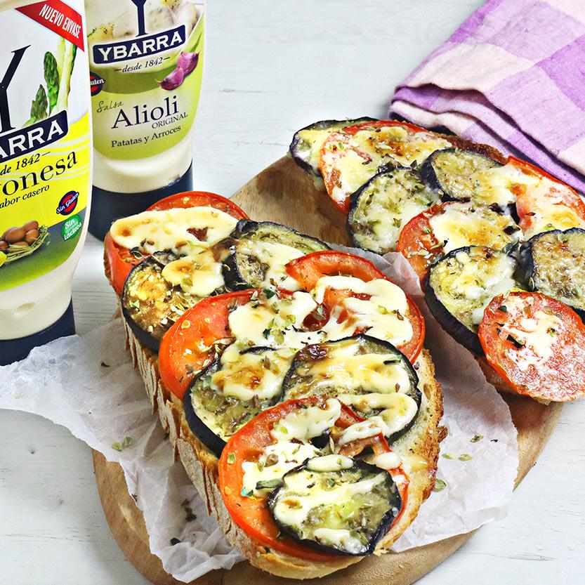 recetas ybarra tosta de tomate con berejena y mayonesa