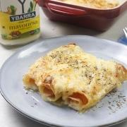 Canelones de York y y queso con mayonesa