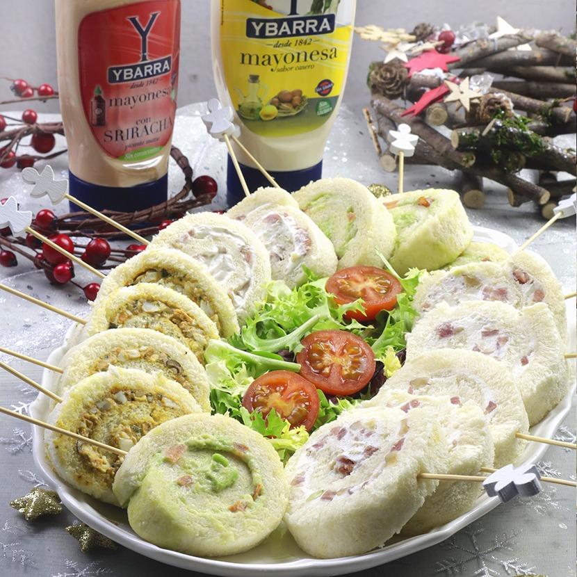 Piruletas de pan de molde con mayonesa para Navidad