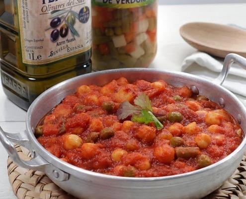 garbanzos con tomate y verduras