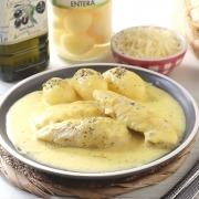 Solomillo de pollo con azafrán y queso Ybarra