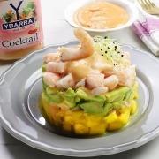 Tartar de langostinos, aguacate y mango con salsa Cocktail Ybarra