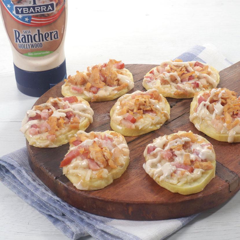 Mini pizzas de patatas con Salsa Ranchera